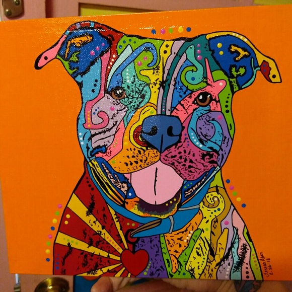 a755b7fd350ce Pitbull PopArt painted on flat canvas